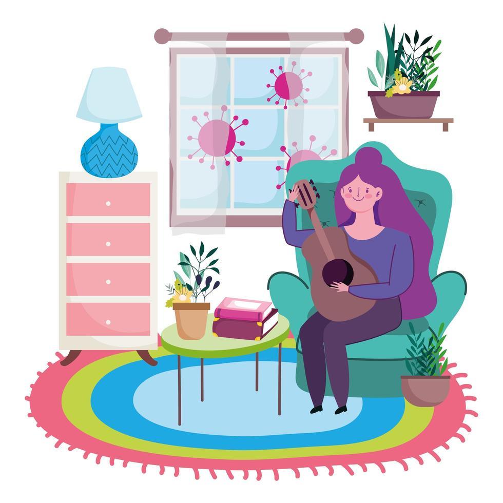 mujer joven, tocar la guitarra acústica, en casa vector