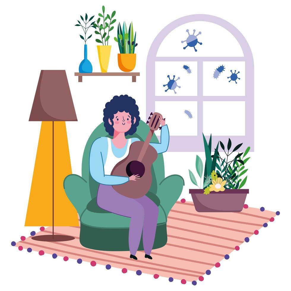 joven en la sala de estar tocando la guitarra acústica vector