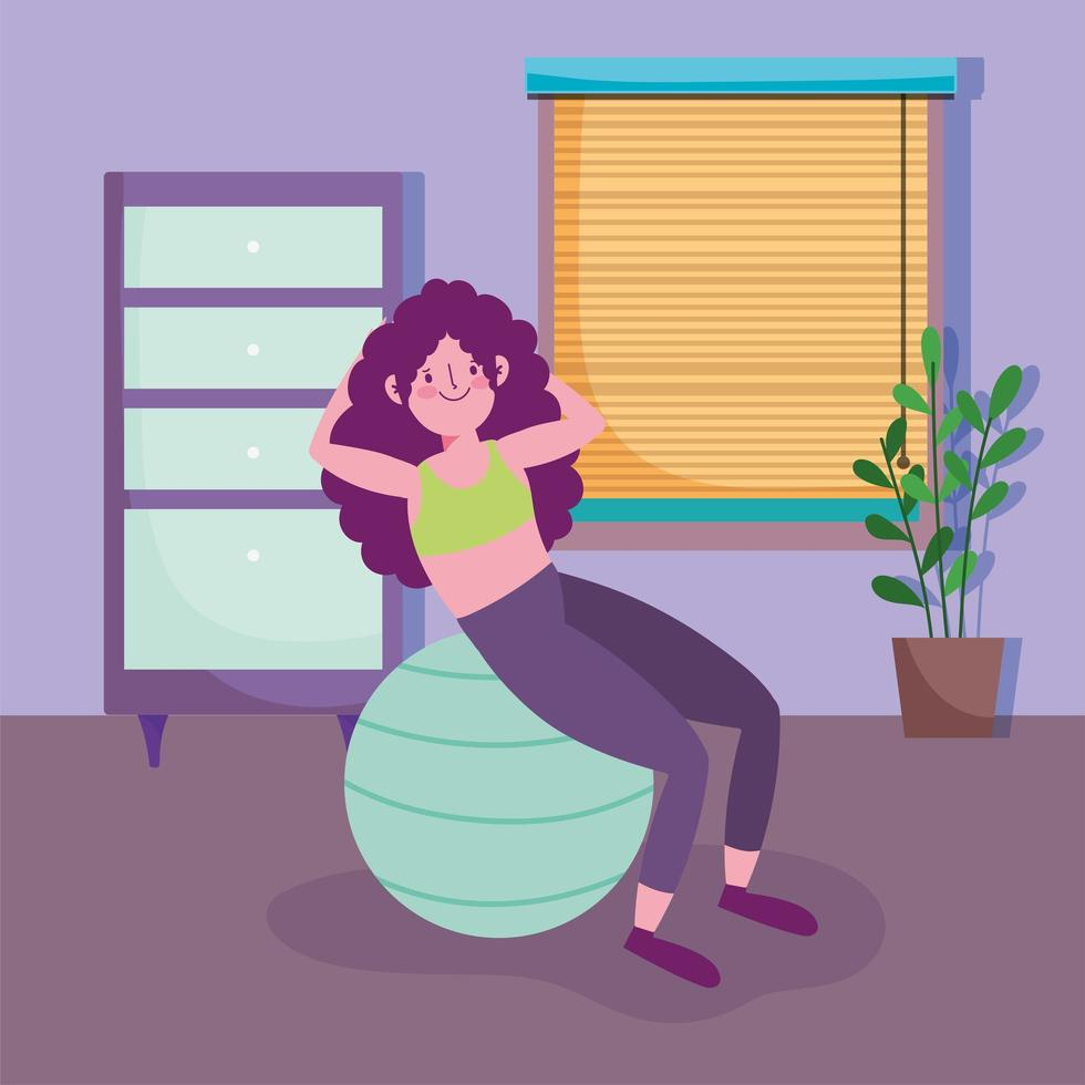 Adolescente trabajando con pelota de ejercicios en casa vector