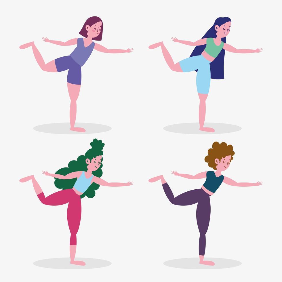 colección de mujeres practicando yoga vector