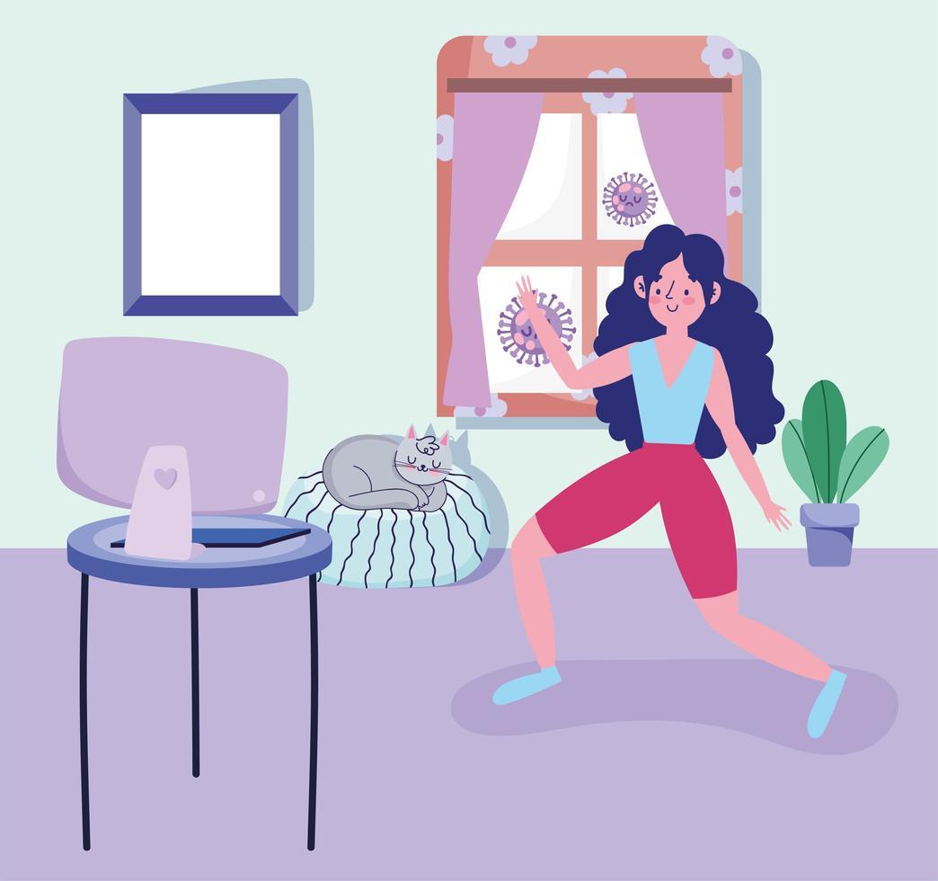 mujer joven haciendo ejercicio en casa vector