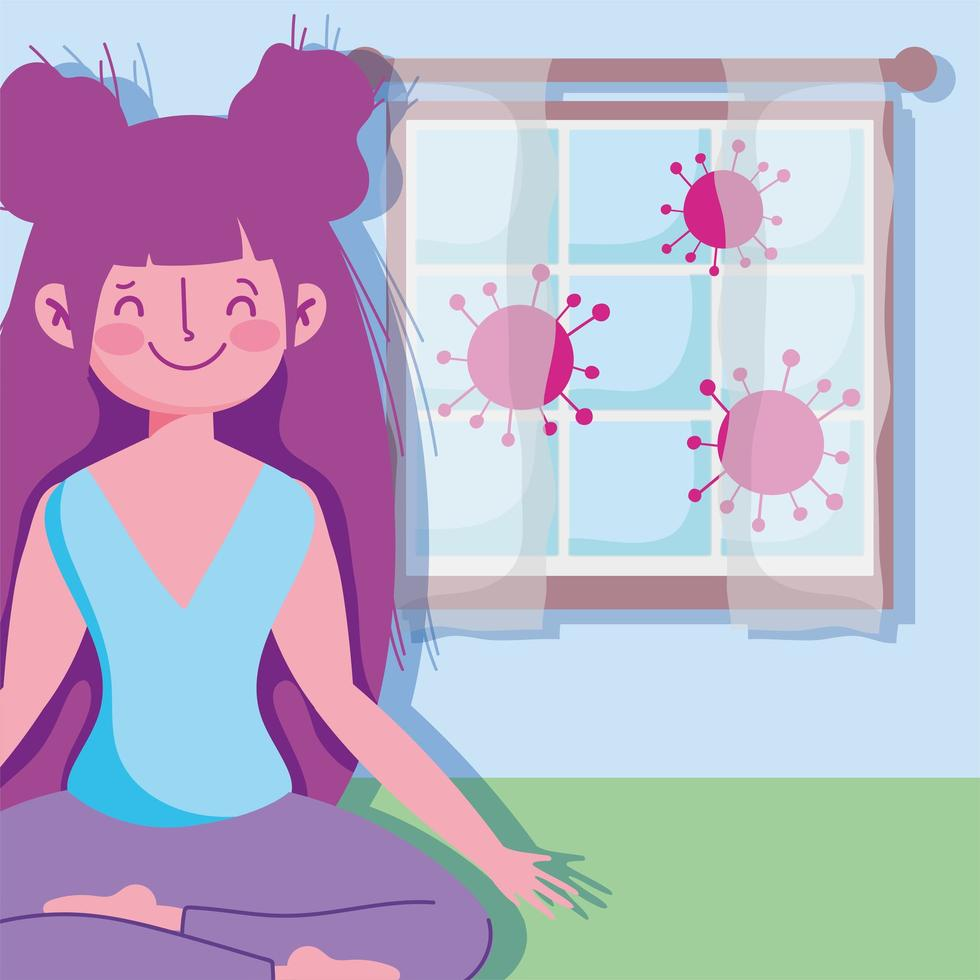 Smiling girl in lotus pose indoors vector