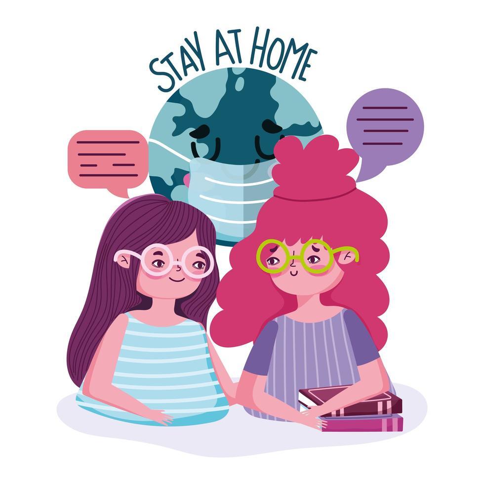 chicas jóvenes charlando con letras de estancia en casa vector
