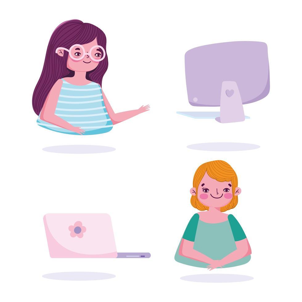 Personajes jóvenes con dispositivos electrónicos establecidos. vector