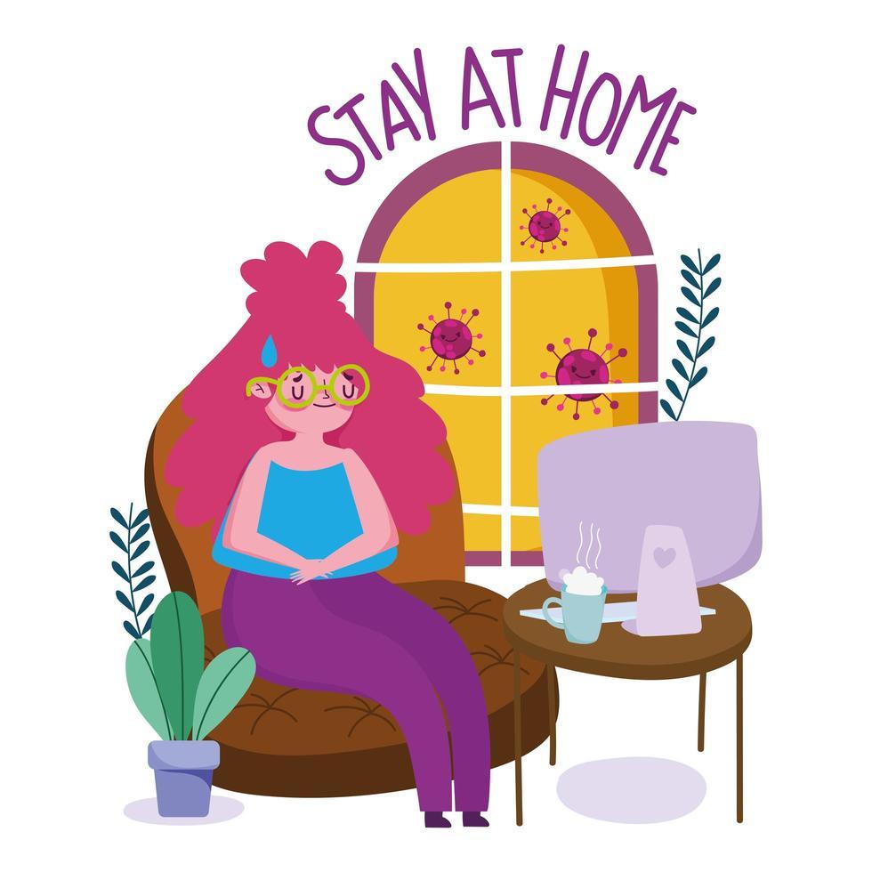 mujer joven en cuarentena en casa vector
