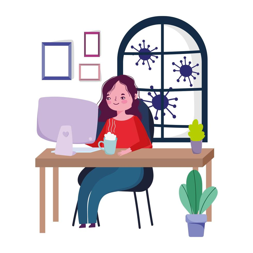 mujer trabajando desde casa durante la cuarentena vector