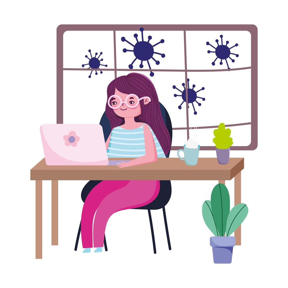 Young woman working from home during coronavirus outbreak vector