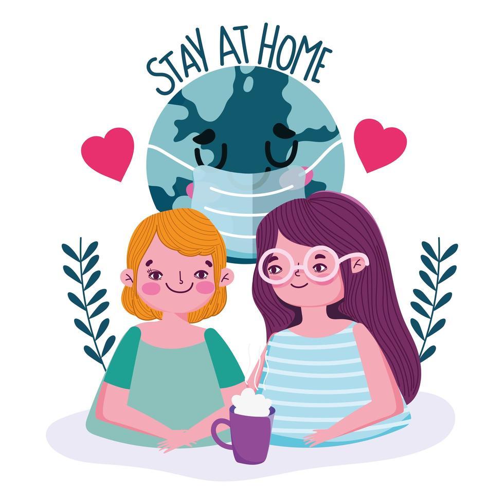 pareja joven con letras de estancia en casa vector