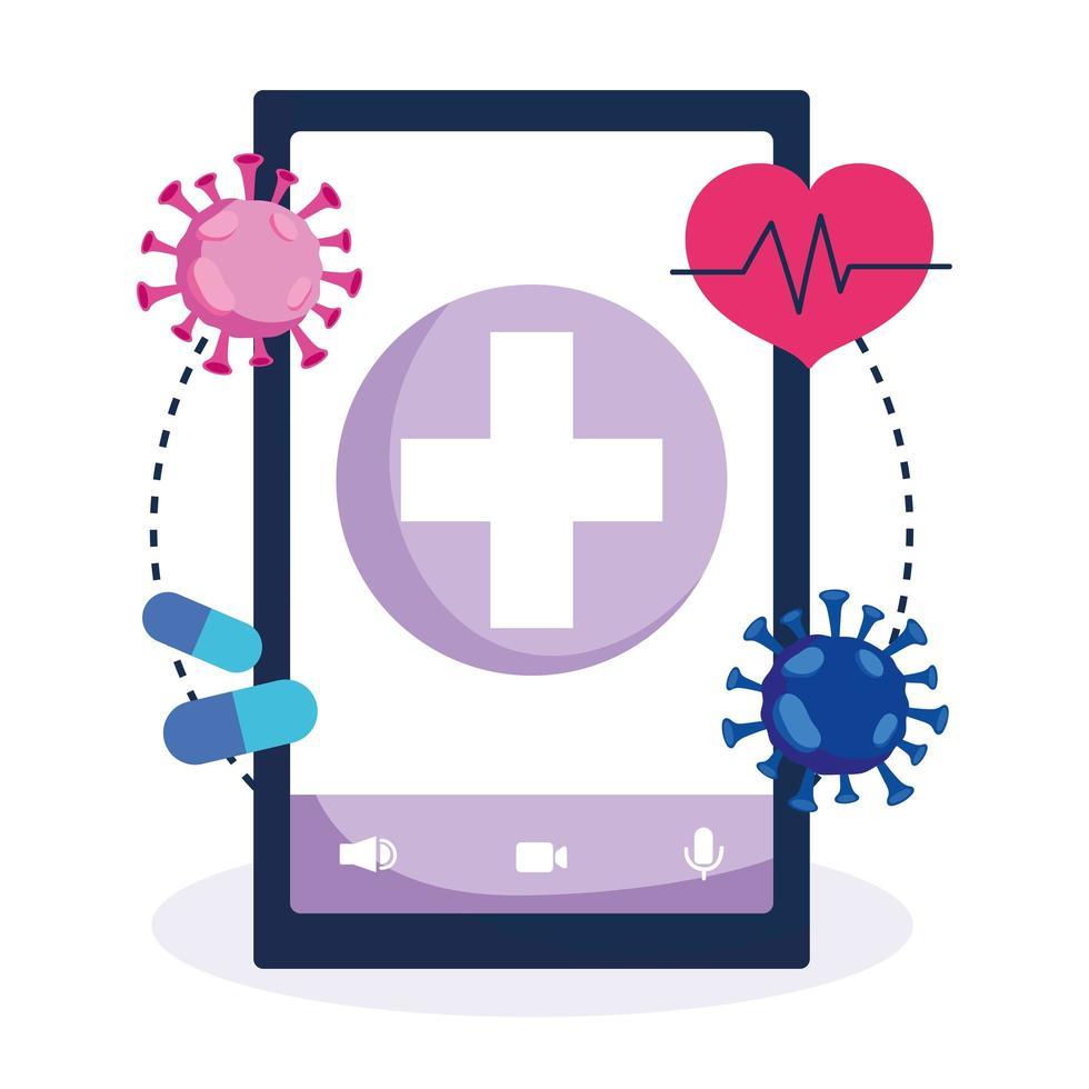 Atención médica en línea con teléfonos inteligentes e iconos médicos. vector