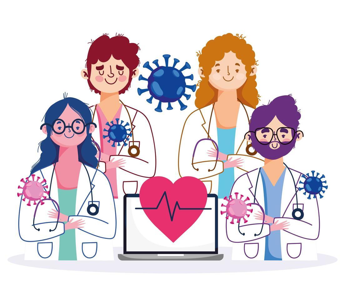 personal de atención médica en línea con computadora portátil y estetoscopio vector