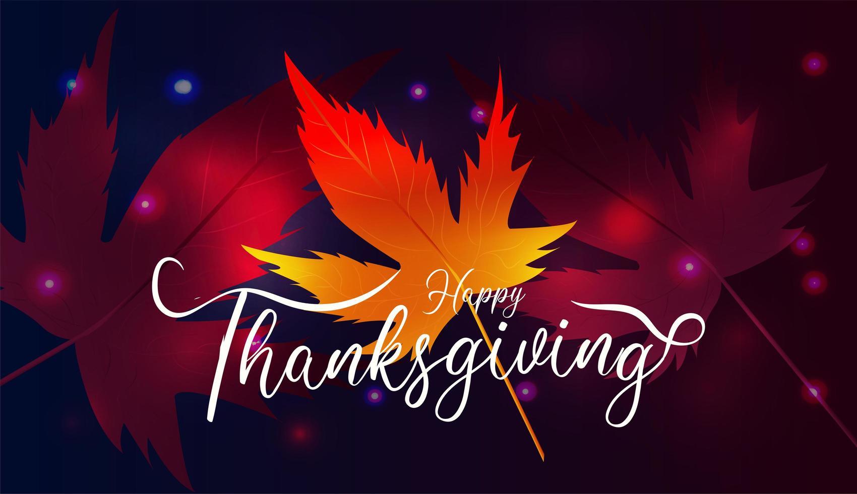 feliz día de acción de gracias con hojas de arce y bokeh oscuro vector