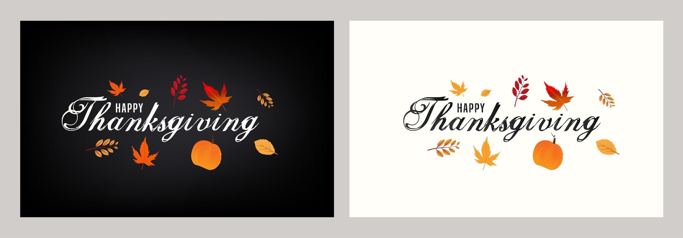 tarjetas de feliz acción de gracias con calabaza y hojas de otoño vector