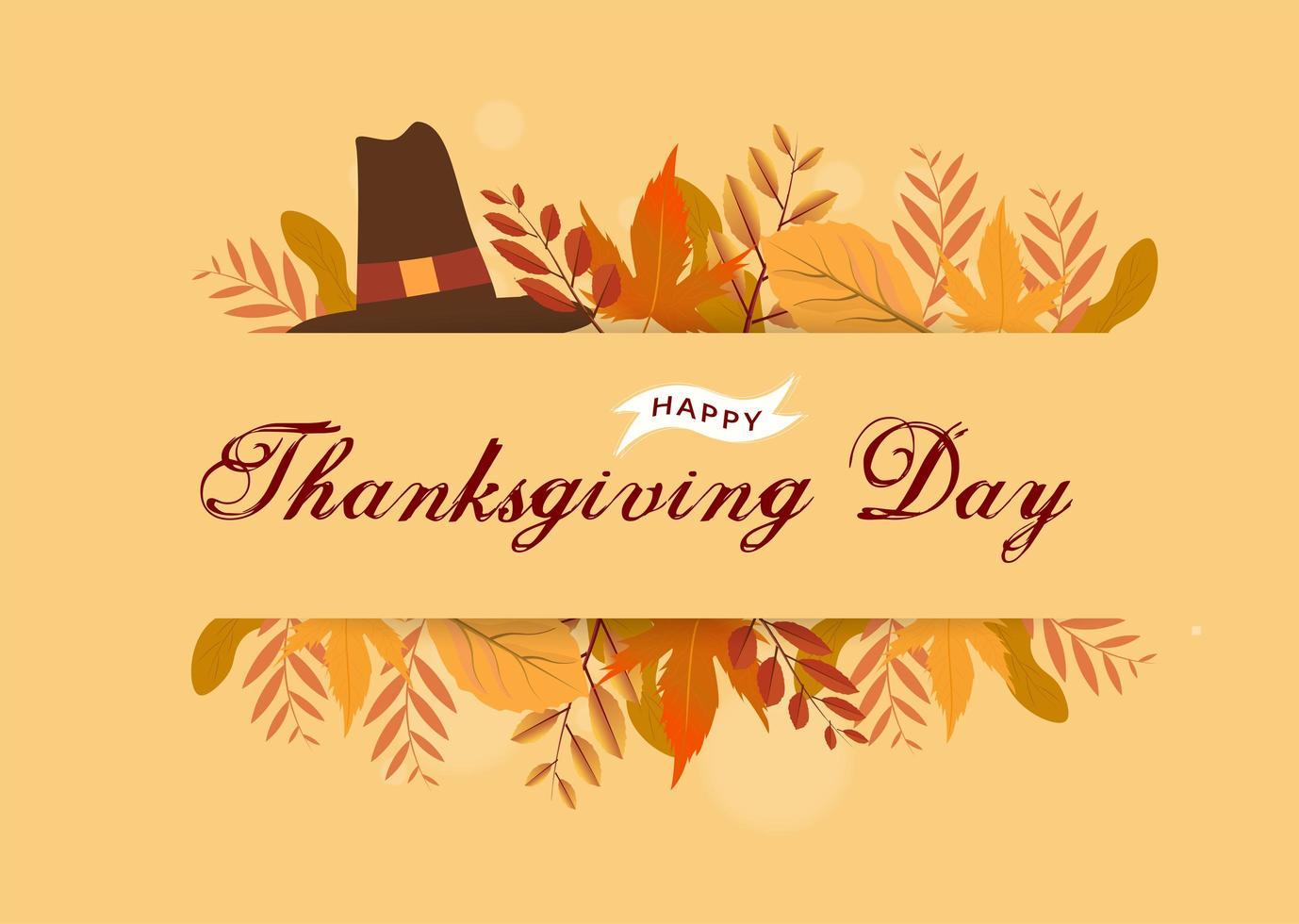 mensaje de acción de gracias con sombrero de peregrino y hojas de otoño vector