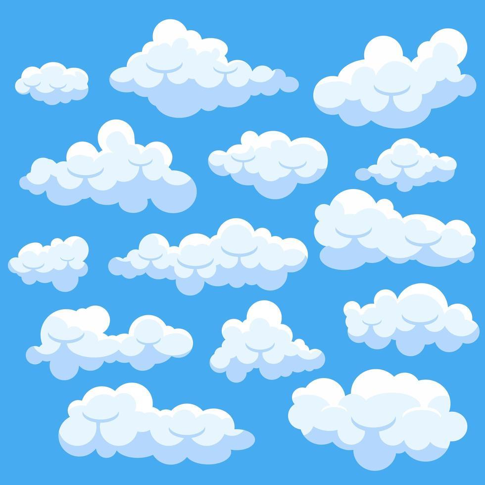 conjunto de nuvens de desenho animado - Download de Vetor