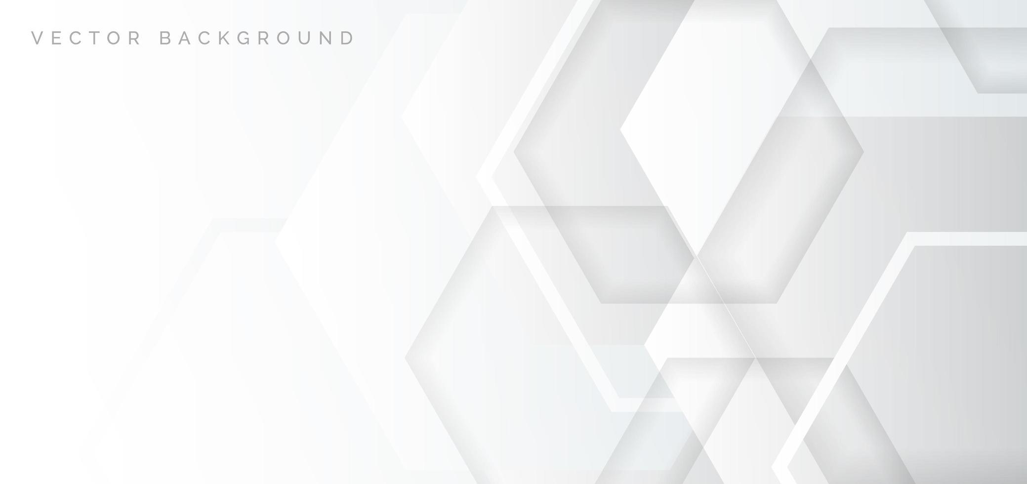banner hexagonal superpuesto geométrico blanco, gris vector