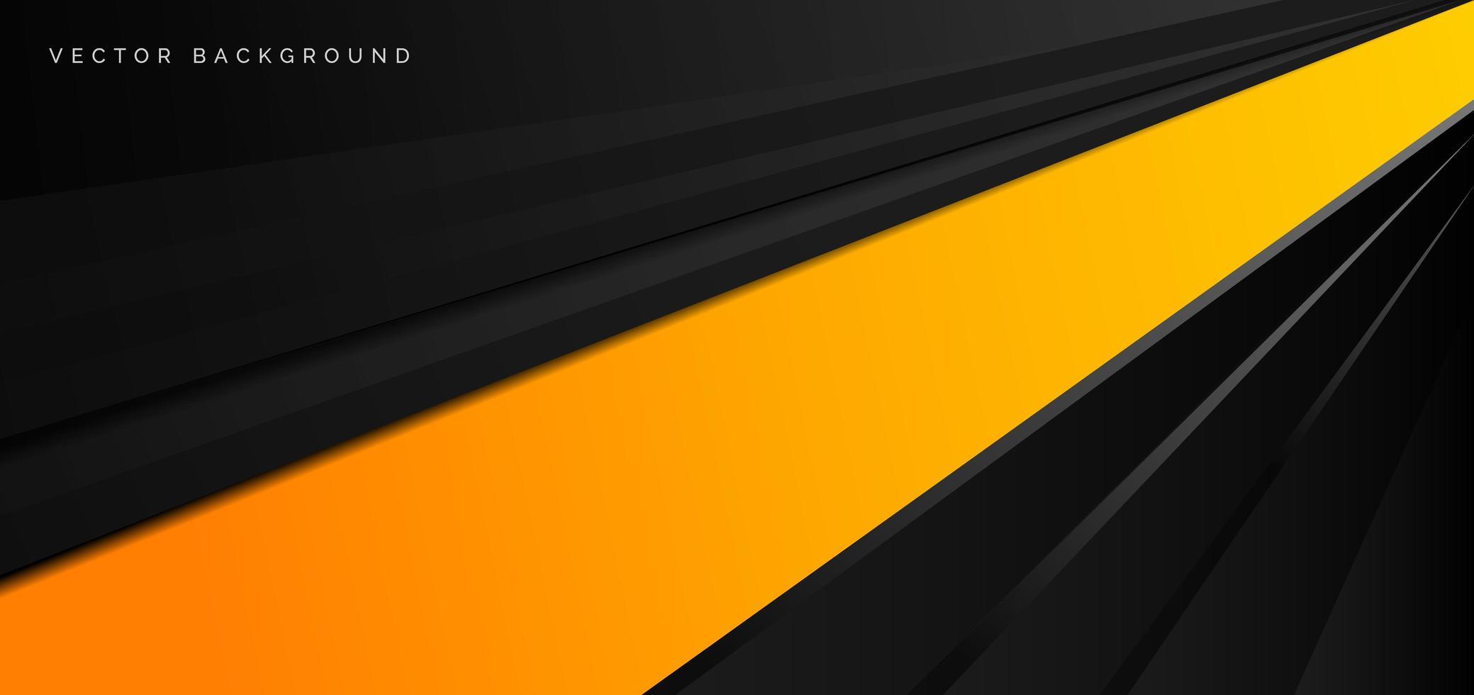 Banner de rayas diagonales brillantes negras y amarillas vector