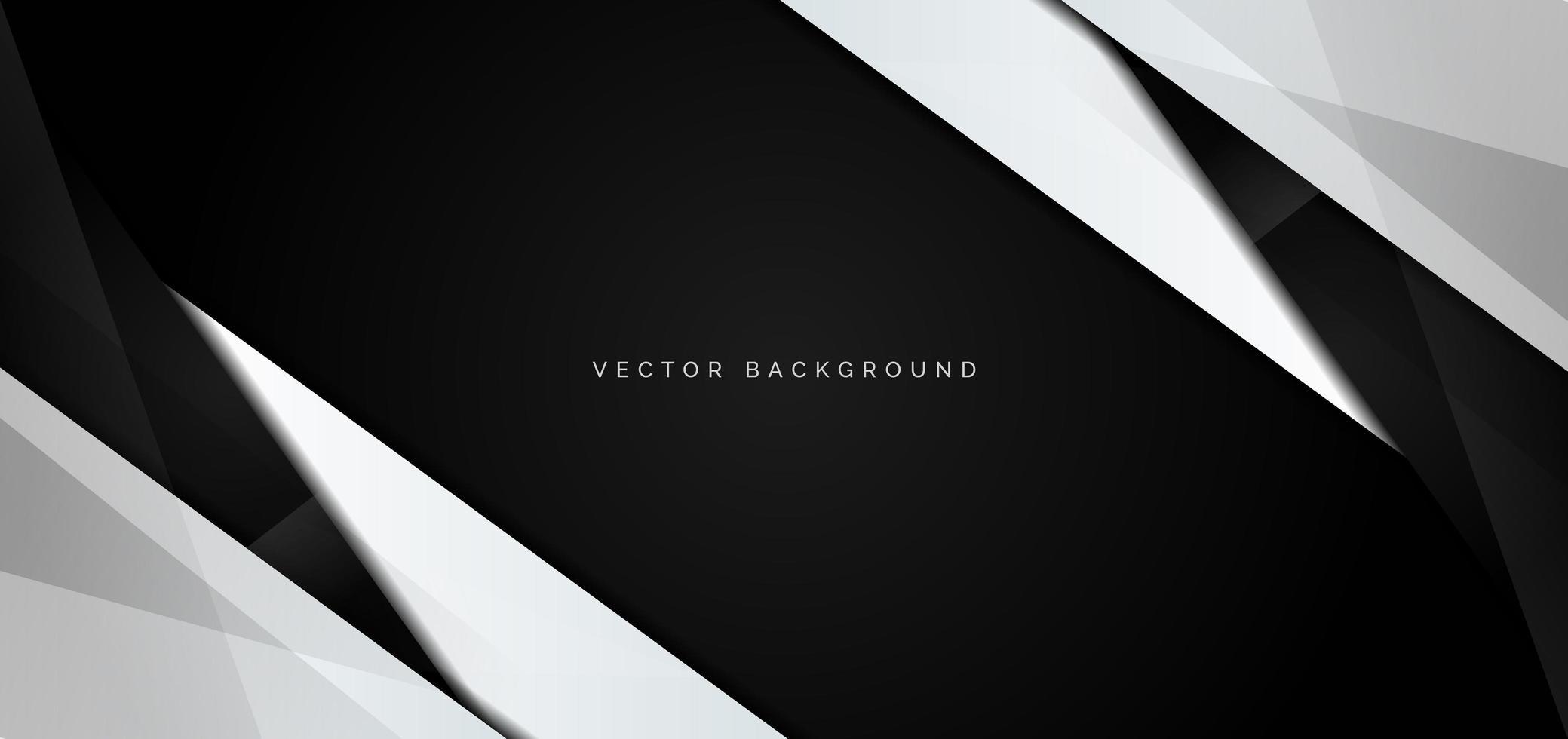 Banner de ángulos brillantes en blanco y negro sobre negro vector