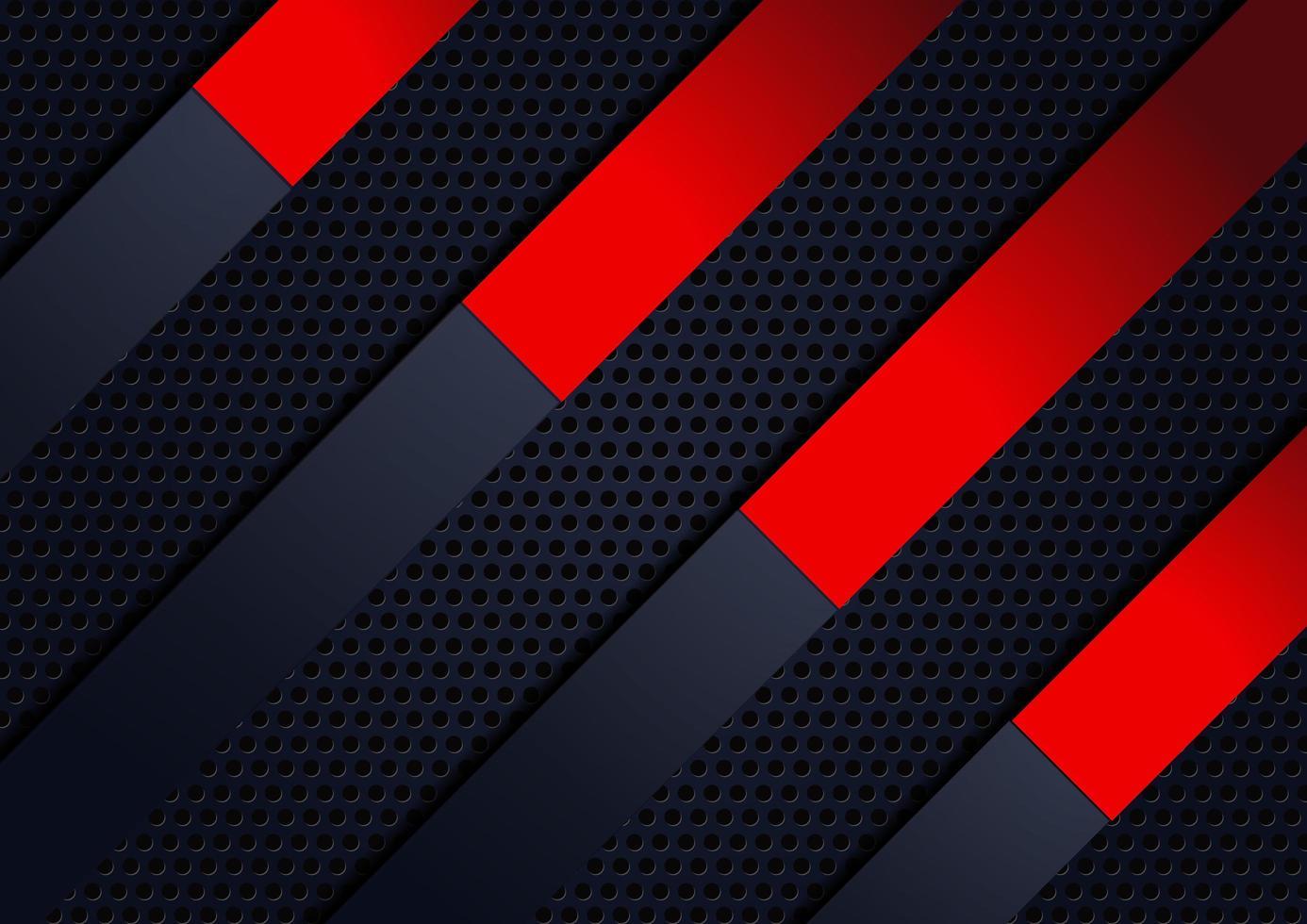 Azul marino abstracto, rojo geométrico diagonal sobre fondo de metal vector