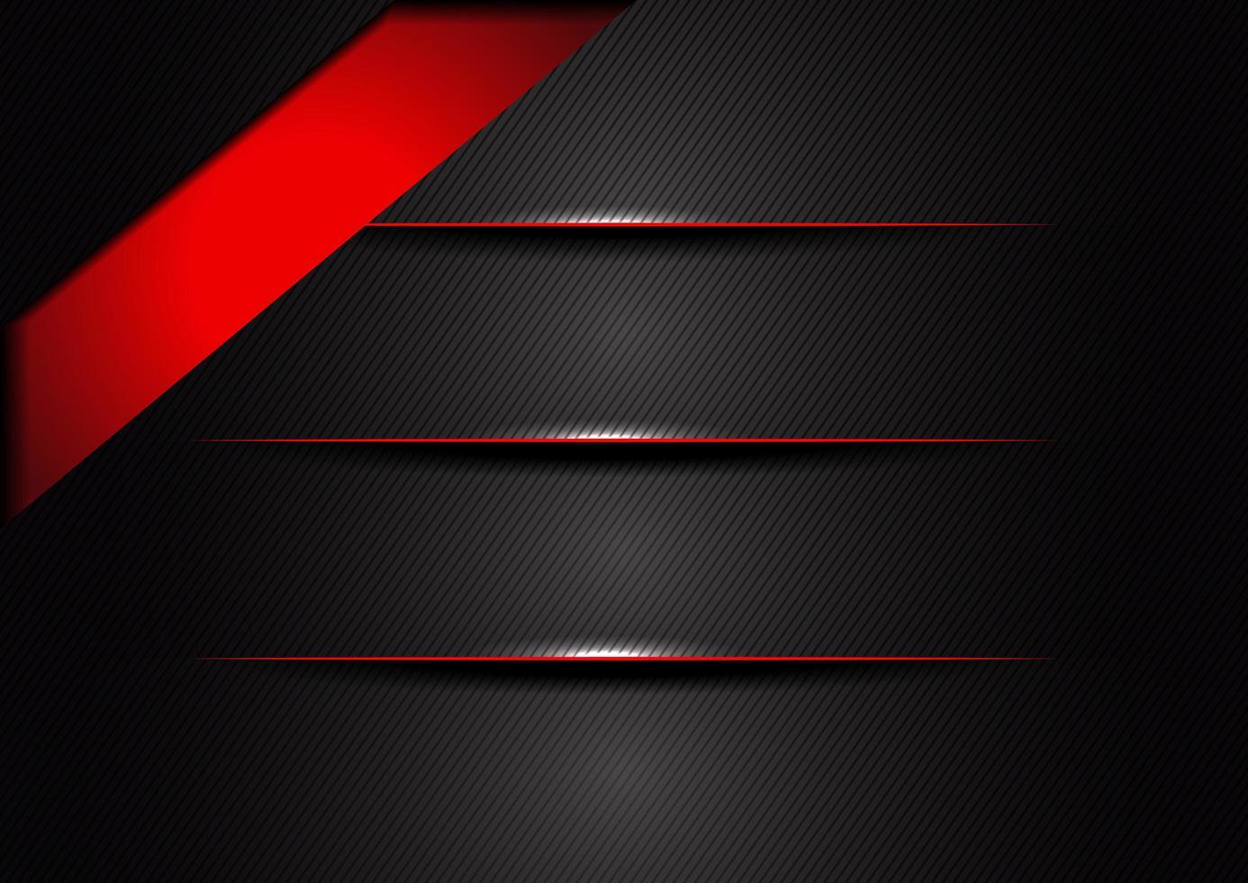 Capas de degradado abstracto negro, rojo, gris con bordes vector