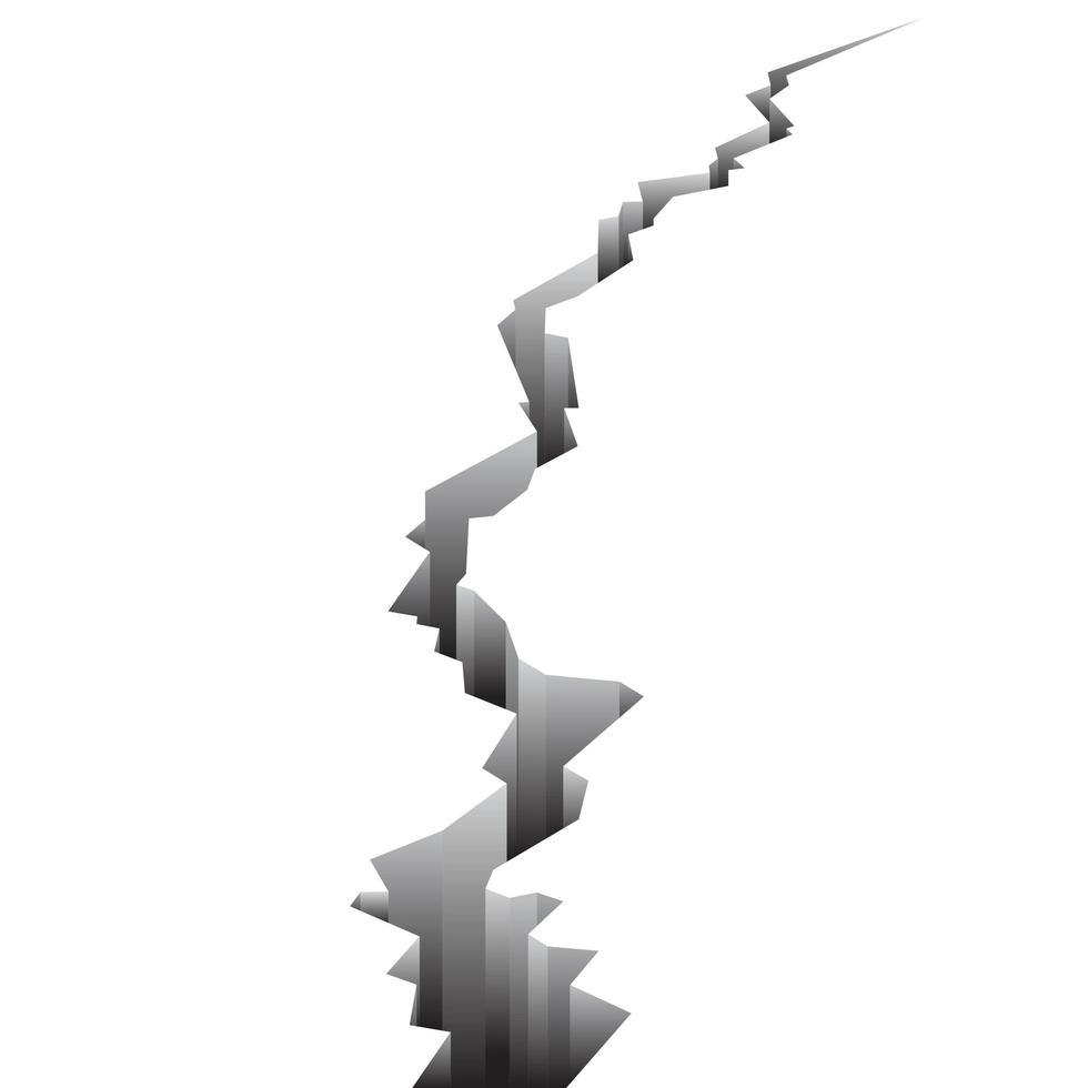 suelo agrietado aislado vertical vector