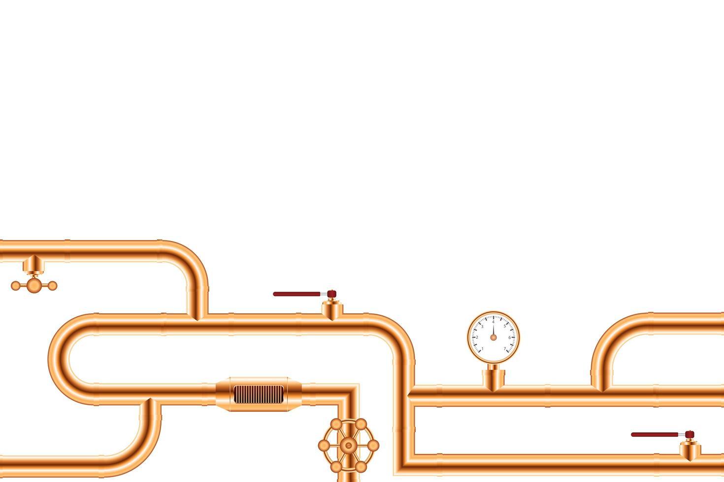 sistema de conexión de tubos de cobre vector
