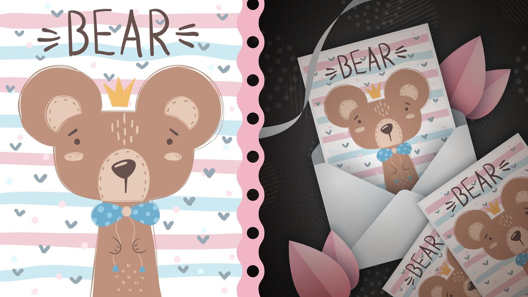 princesa oso tarjeta de felicitación vector