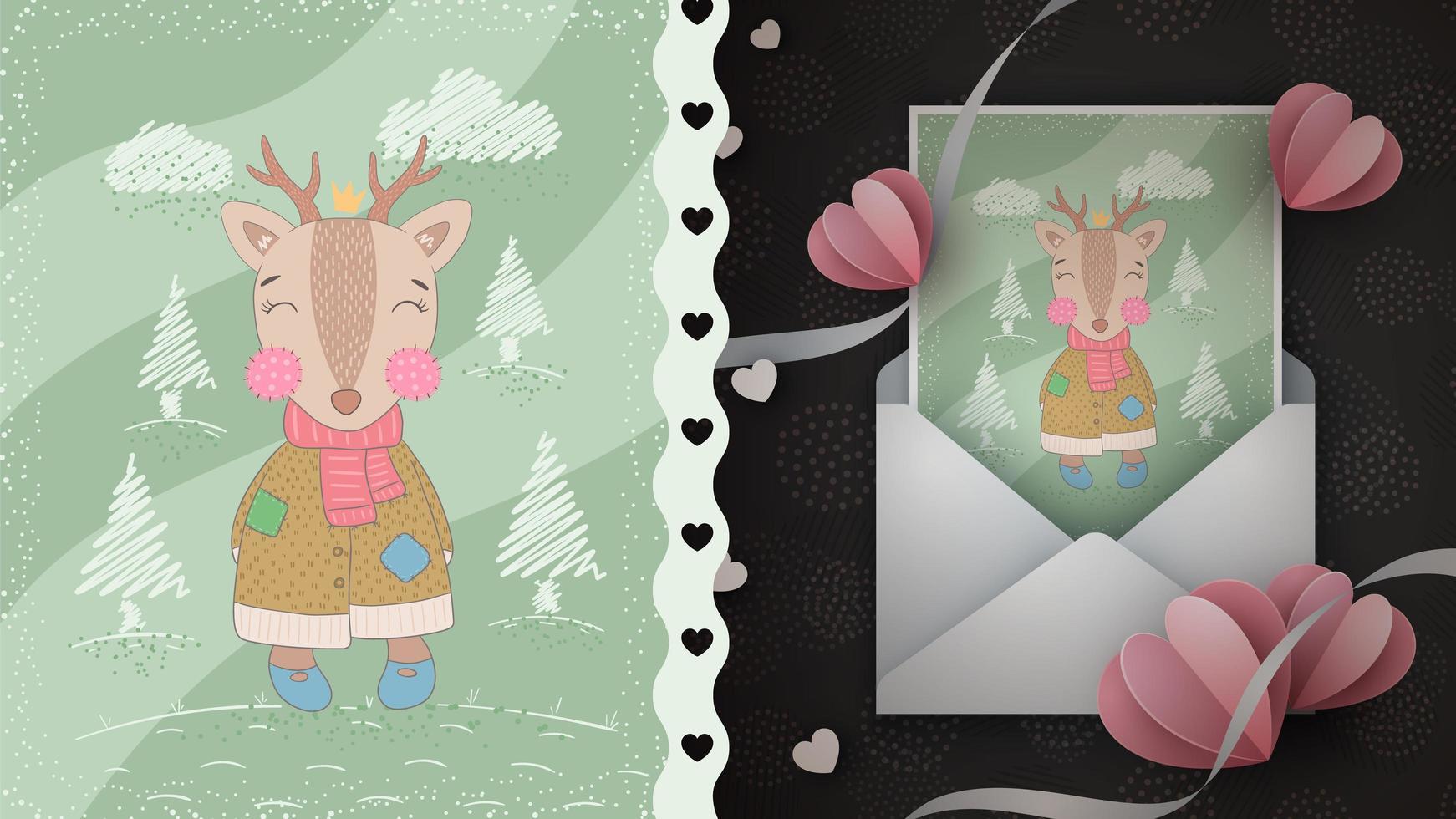 tarjeta de felicitación de ciervos del bosque vector