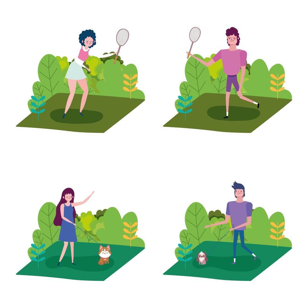 gente haciendo actividades al aire libre vector