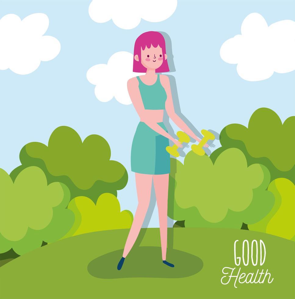 mujer joven, levantar pesas, aire libre vector