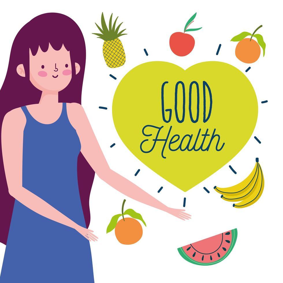 mujer joven con frutas y verduras saludables vector