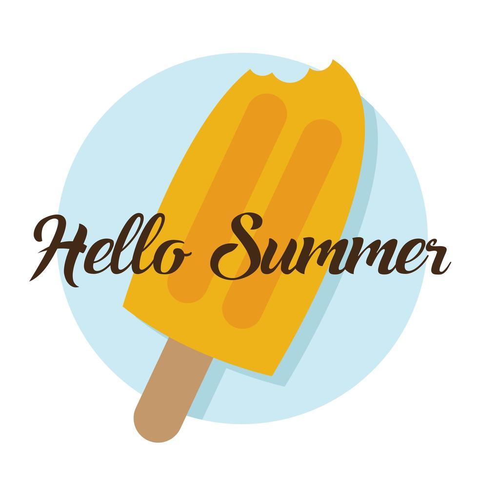 Hello summer text and ice cream bar vector