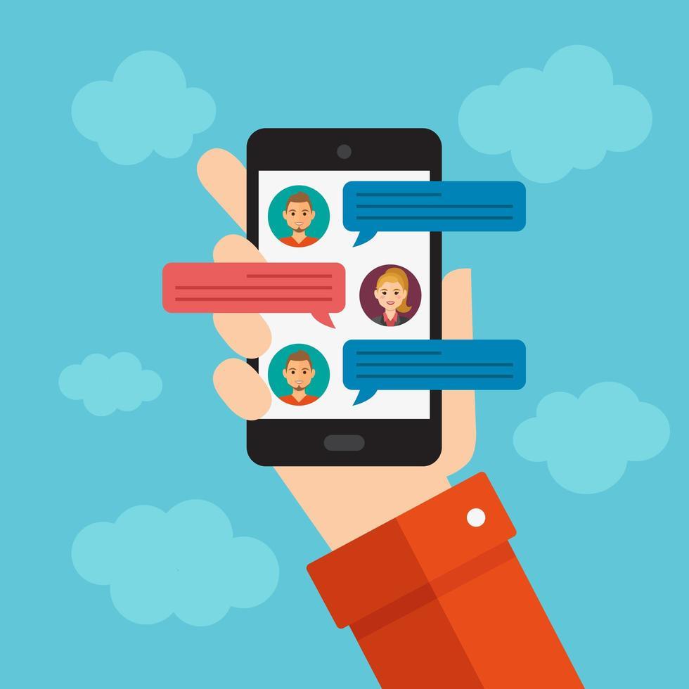 mano que sostiene el teléfono móvil con mensajes de chat vector