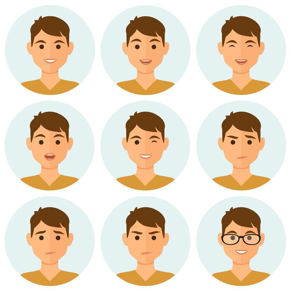 hombre, expresiones faciales, avatar, conjunto vector