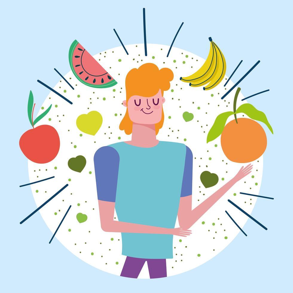 hombre con frutas tropicales saludables vector