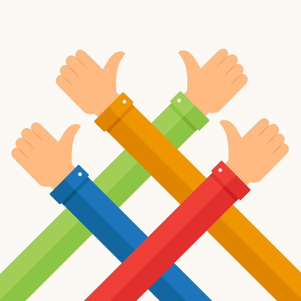 Colorful crossed arms giving thumbs up, like vector