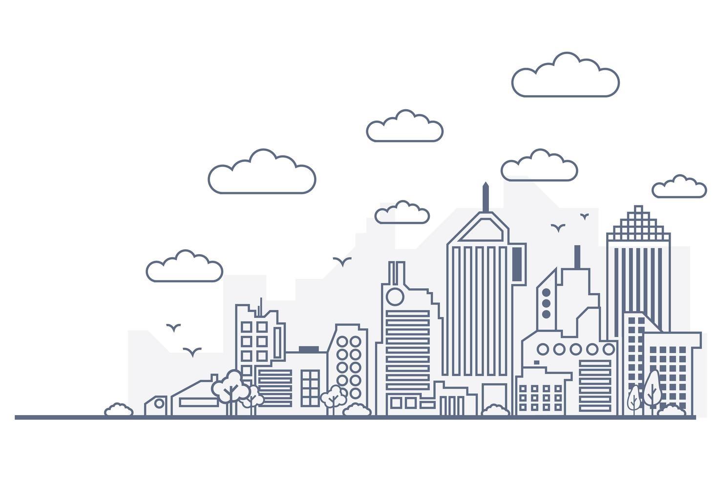 panorama de la ciudad estilo de línea fina vector