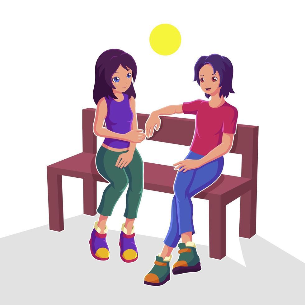 pareja sentada en un banco vector