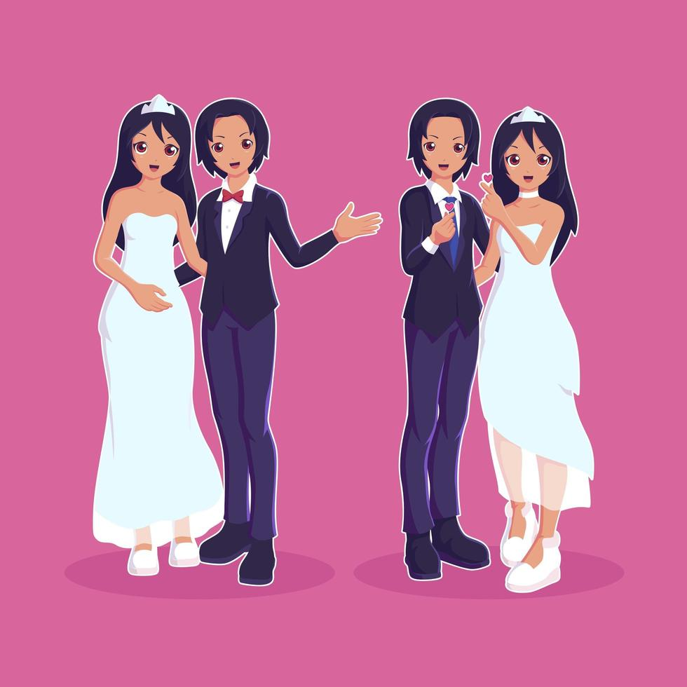 casamento casal personagens casados vetor