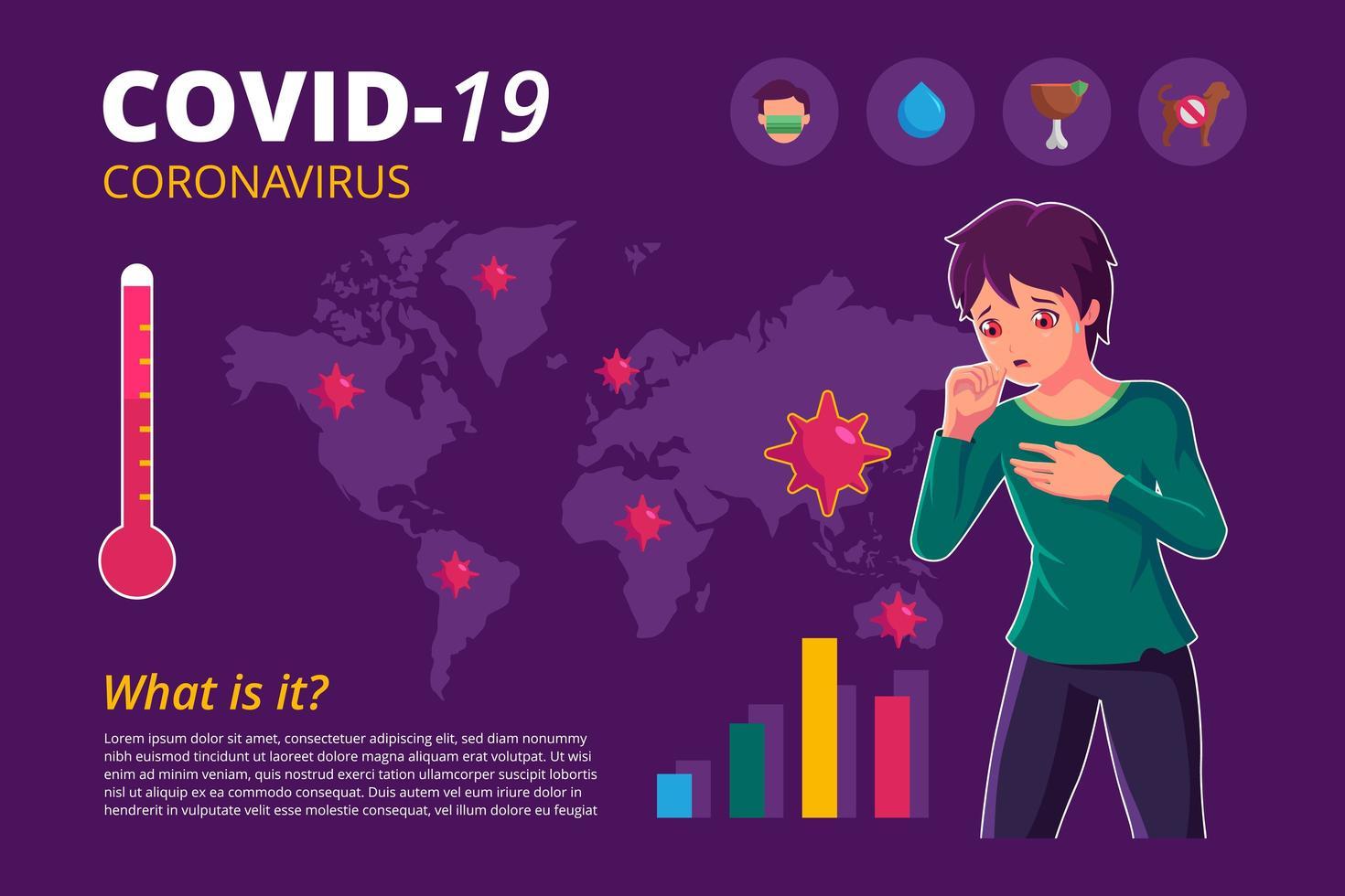cartel infográfico del coronavirus covid-19 con niño tosiendo vector