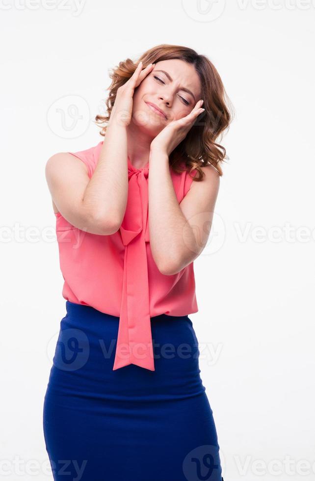 mujer casual con dolor de cabeza foto