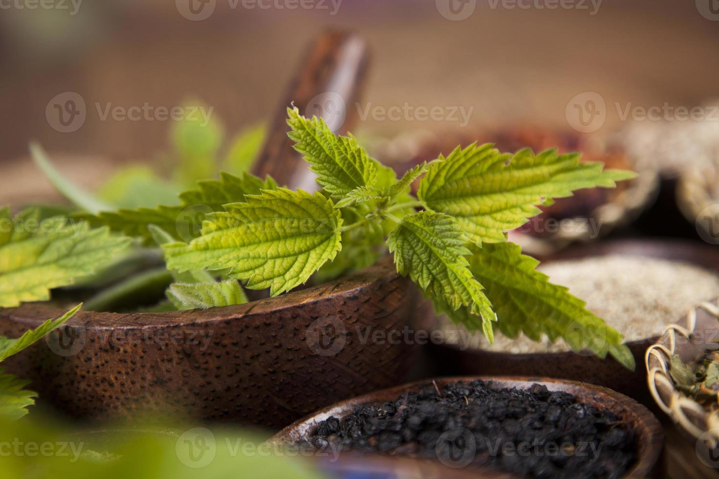 Herbal medicine, wooden table background photo