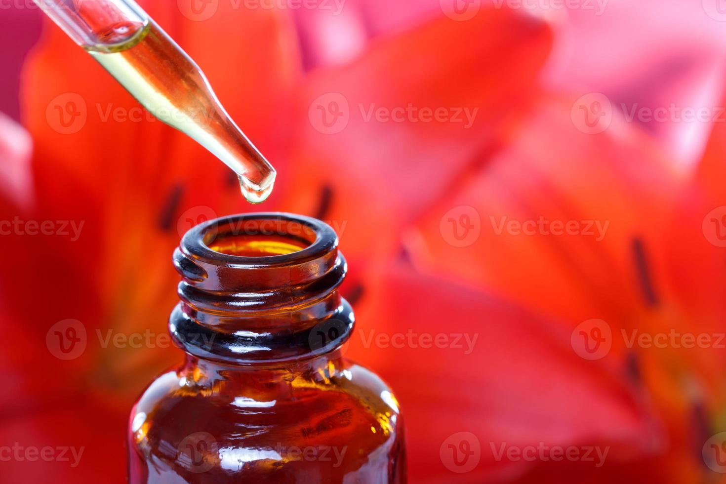 frasco gotero de hierbas medicinales con flores foto