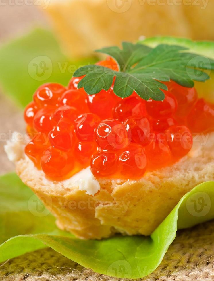sandwich with red caviar, butter and cucumber photo