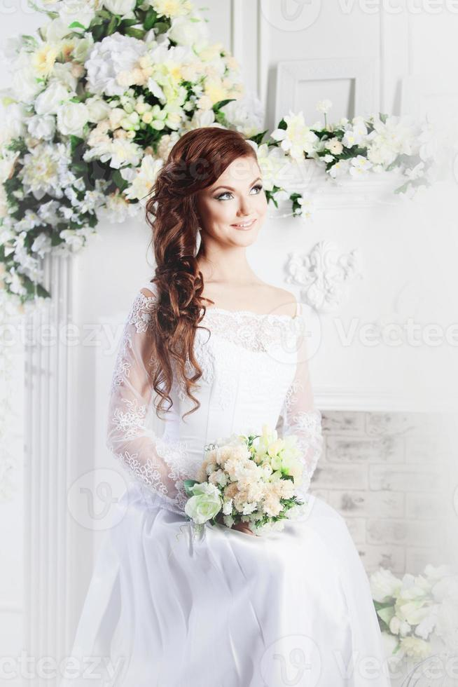 Portrait of beautiful bride. Wedding dress. Decoration photo