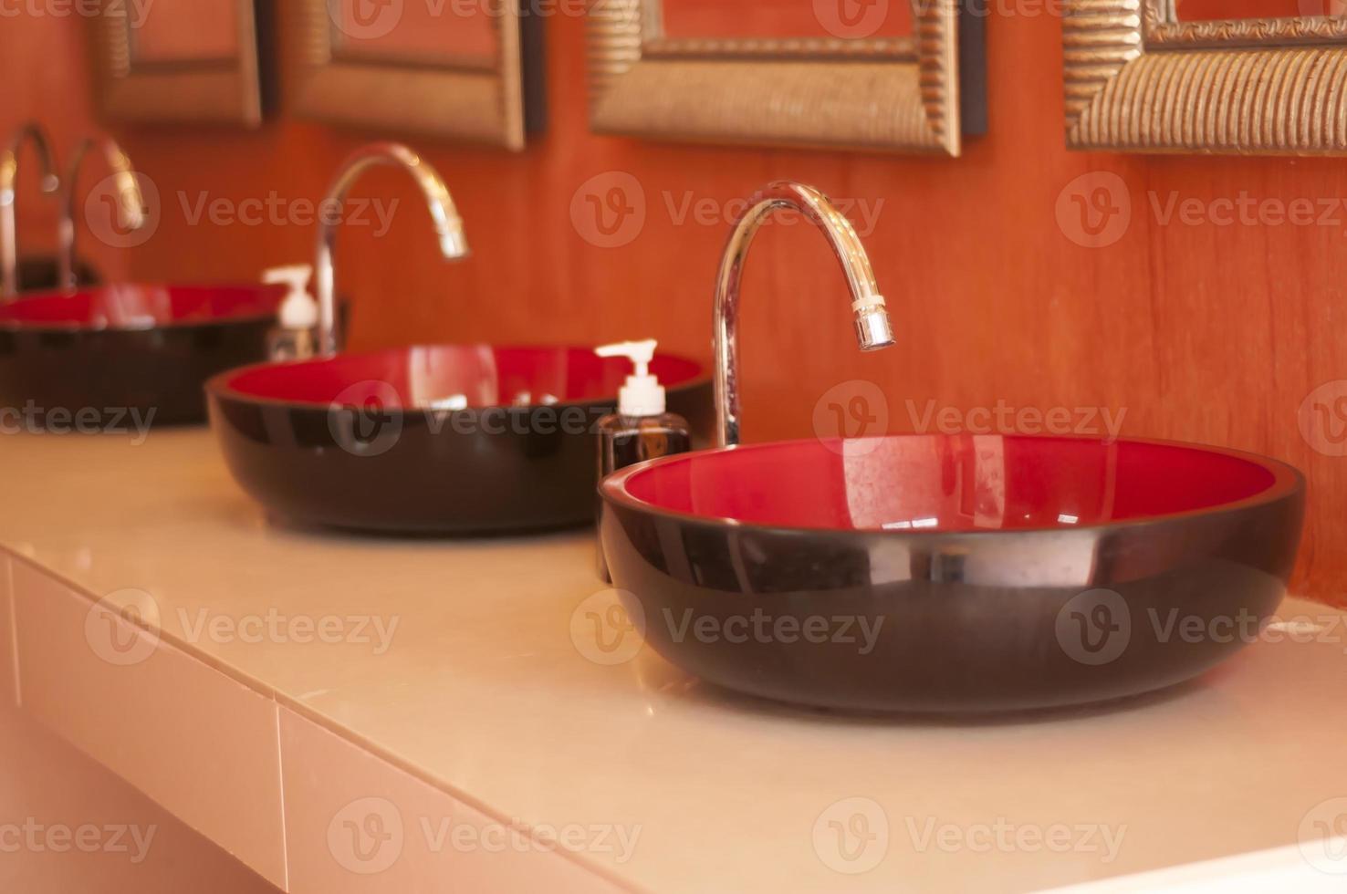 Faucet and lavatory interior design. photo