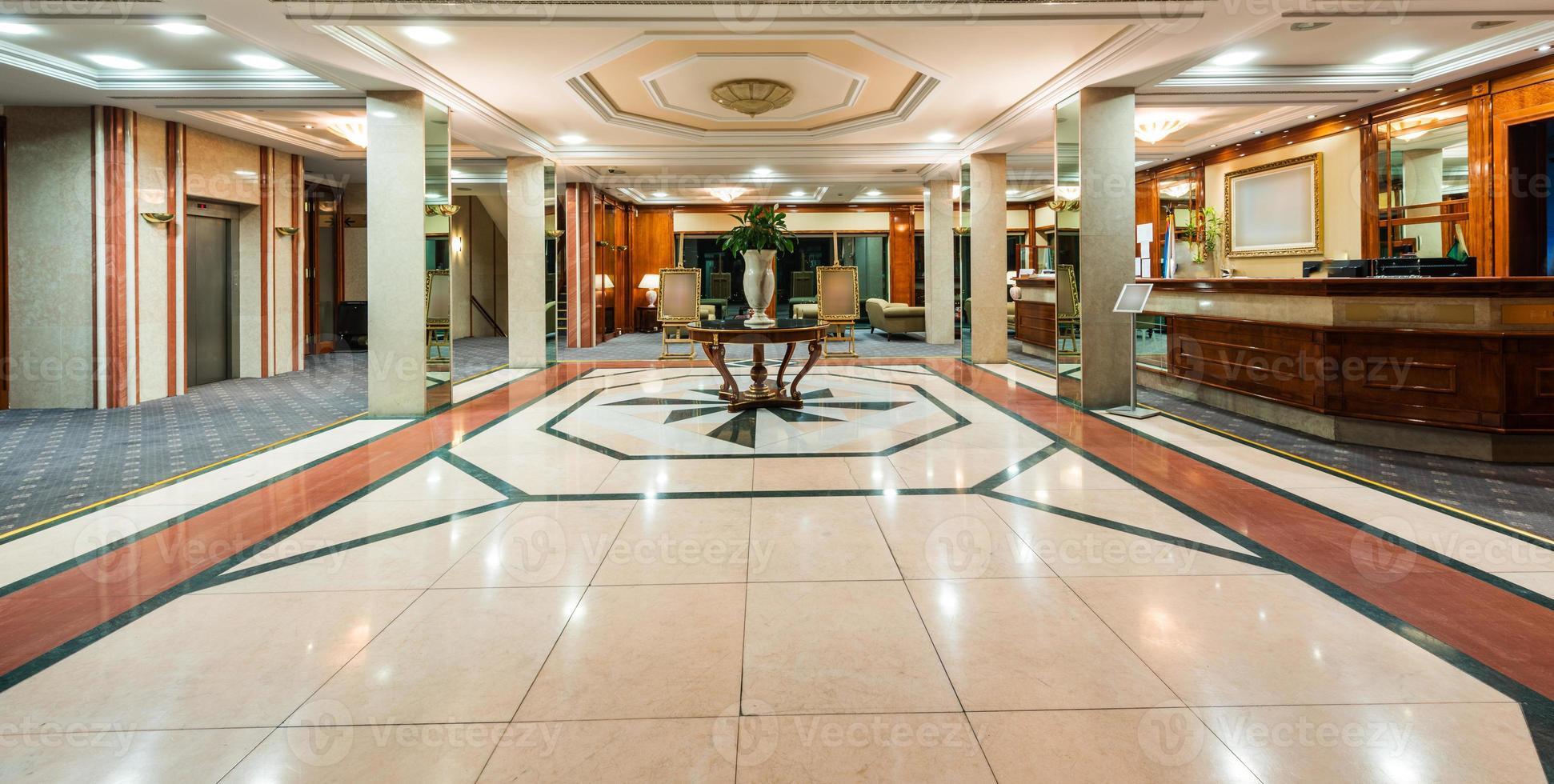 Interior of a hotel reception photo