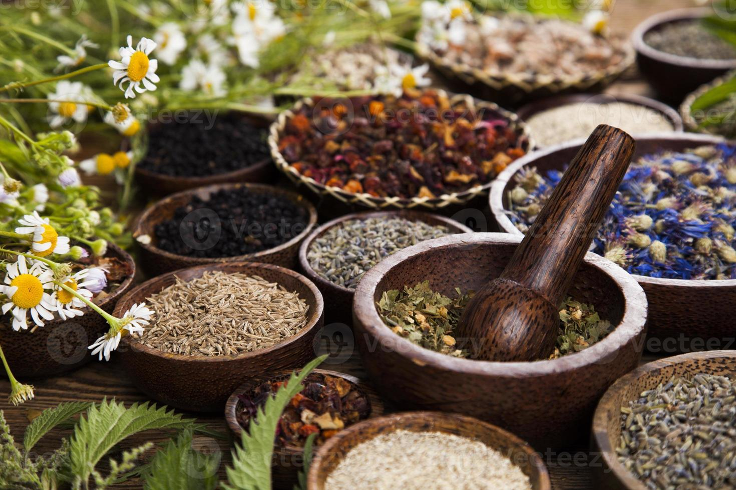 Natural remedy,Herbal medicine and wooden table background photo