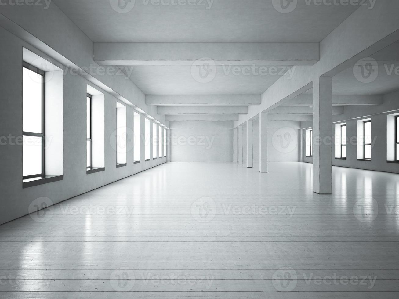 Loft space white concrete photo