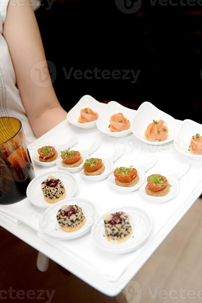 close up of catering food on hand photo