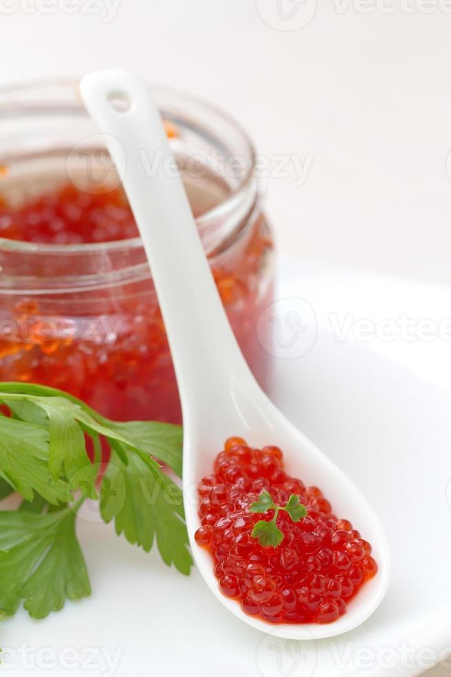 red caviar in a white spoon photo